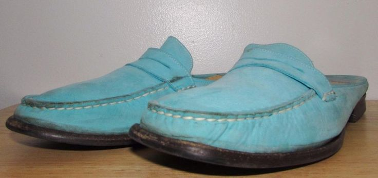 Women Cole Haan Suede Turquoise Penny Loafer Mule Slide Shoes 8 B #ColeHaan #LoafersMoccasins #Casual