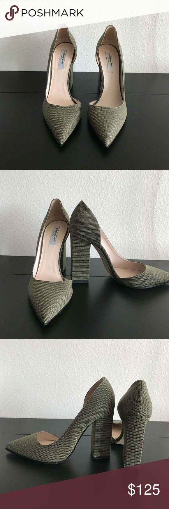 """Emerson Fry D'Orsay Heels Olive colored 4"""" block heel. Beautiful and classic heel to dress up or down. Shoes Heels"""