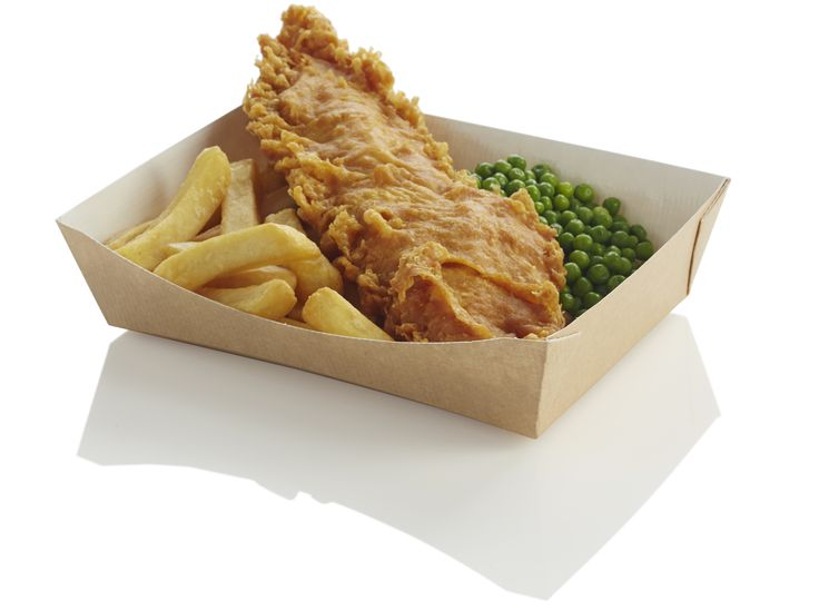 The large trays are PET lined with webbed corners, for food choices which are served with a sauce or gravy accompaniment. The trays can be used for serving fish and chips.