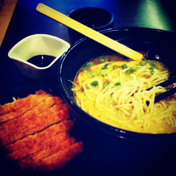Ajisen Ramen's Curry Pork Cutlet Ramen. So yummy... Ajisen Ramen, Chinatown, Toronto, Canada.