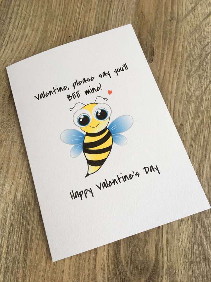 A personal favourite from my Etsy shop https://www.etsy.com/uk/listing/583975143/bee-valentines-card-animal-lover