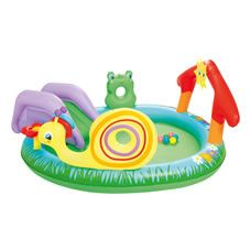 Encourage your child to play in the water with this Play and Grow inflatable paddling pool. It's perfect for helping them to gain confidence in the water and features a number of fun elements including two inflatable rings, 6 floating game balls, a removal slide and some interactive characters; as well as a frog that sprays water! Warning: Adult supervision recommended at all times when children are using pools.
