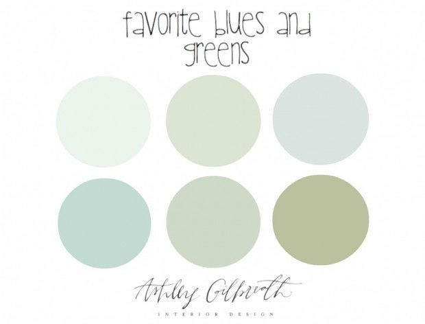 1. Farrow and Ball Cabbage White 2. Behr Mystic Seaport 3. Benjamin Moore In Your Eyes 4. Sherwin Williams Tidewater 5. Farrow and Ball Pale Powder 6. Farrow and Ball Vert de Terre