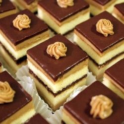 Coffee and chocolate cake? Yes! These miniature opera cake bites are delicious!