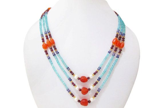 Apatite Iolite Carnelian & Garnet beads necklace by anushruti
