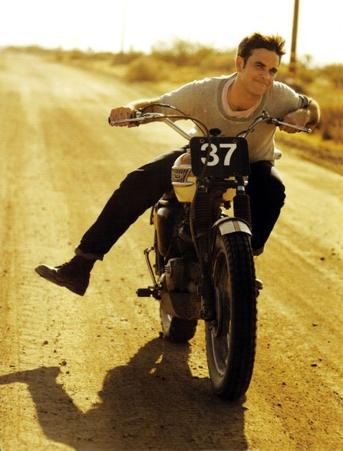 Robbie riding on his motorbike