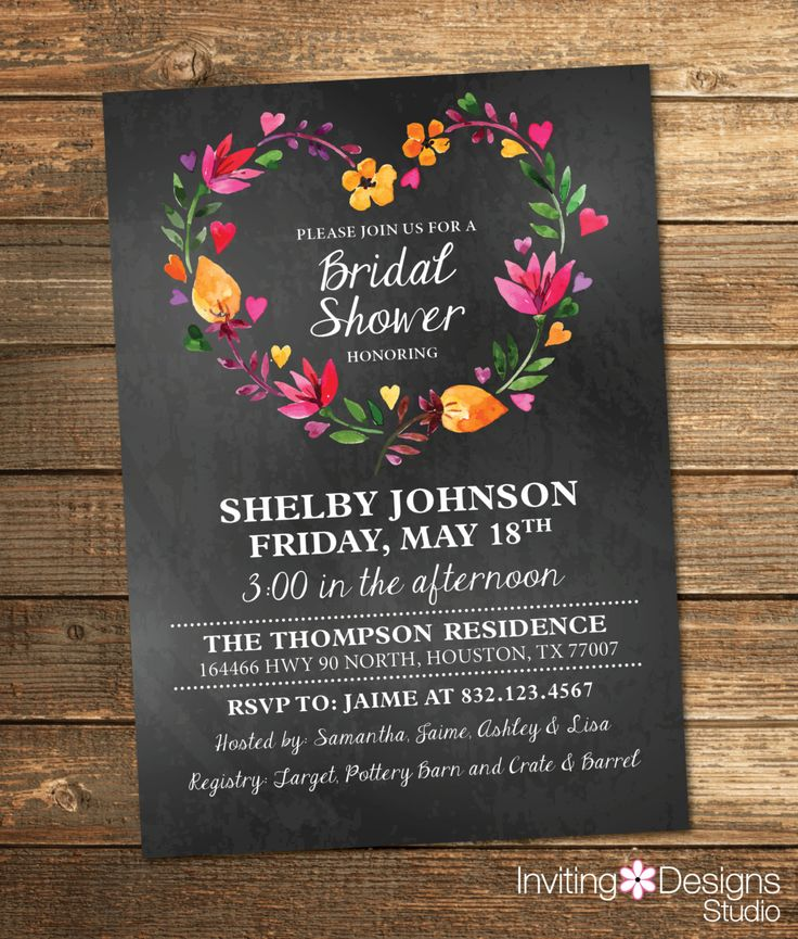 bridal shower invitations with recipe card attached%0A Watercolor Bridal Shower Invitation by InvitingDesignStudio