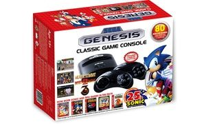 Play your own Sega Genesis games on this updated, streamlined console, or try one of the 80 built-in titles like Sonic and Mortal Kombat