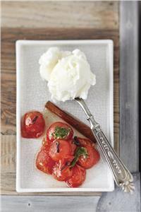 Γλυκό ντοματάκι με βασιλικό και παγωτό. Tomato basil spoon sweet and icecream