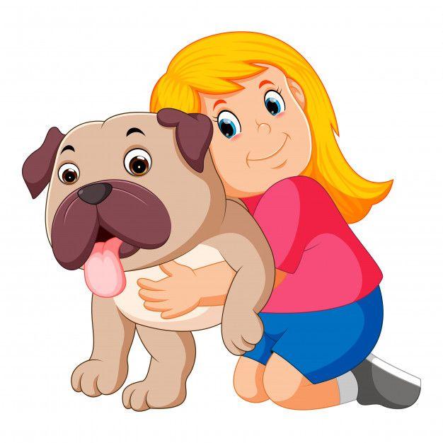 Nina Esta Abrazando Perro Vector Premium Premium Vector Freepik Vector Amor Mujer Perro Chica Perros Vector Abrazo Perros