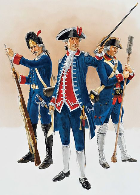 """The Spanish Army in North America - Dragoons, Engineers & Artillery, 1770s-80s: • Private, Guatemala Dragoons, c. 1779-82 • Officer, Royal Corps of Engineers, c. 1770 • Gunner, Royal Corps of Artillery"", David Rickman"