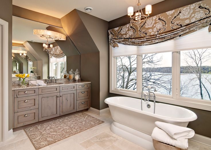 Luxury Bathroom With Freestanding Tub And Bright Windows Overlooking Lake.  Designed By Mingle   Minneapolis
