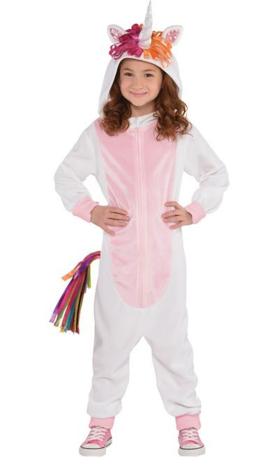 2ab663794b16 The Zipster Unicorn One Piece Costume for girls features a tail and an  attached unicorn horn. The fleece unicorn one-piece jumpsuit costume has a  front ...