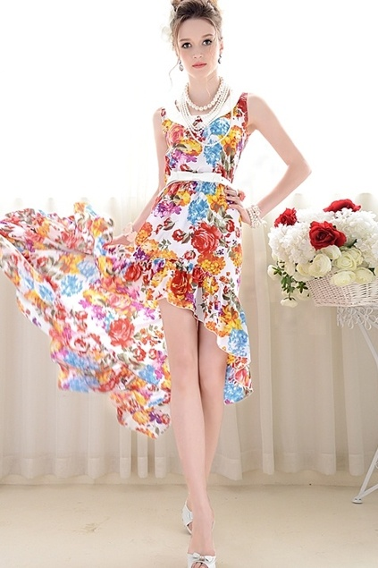 Flower Print Sleeveless Irregular Hemline Dress