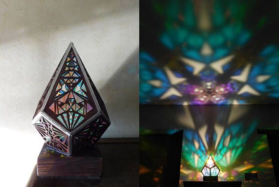 Rainbow Prism Desktop lamp.Morocco Lamp. Upcycled Lamp.