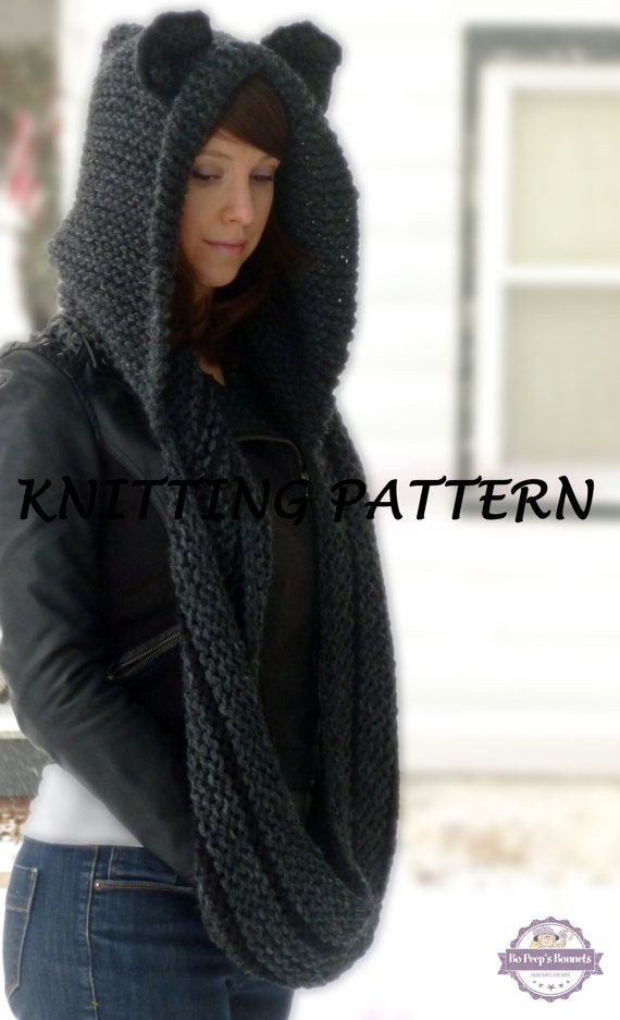 KNITTING PATTERN Hooded Cat Cowl, Cat Ears Hooded Infinity Scarf Knitting…