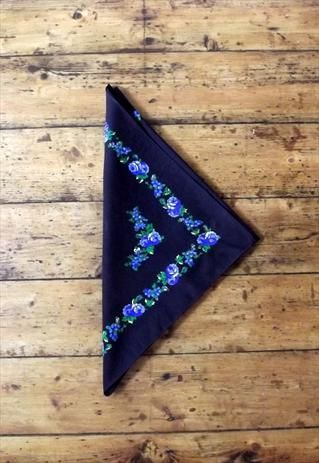 Black neck scarf bandanna floral  square womens scarfs vtg