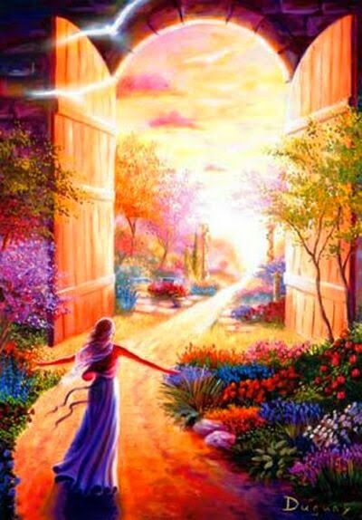 Beautiful garden with woman walking on path to huge doors opened...open heaven with God's glory coming out to meet her. Please also visit www.JustForYouPropheticArt.com for more art to pin.
