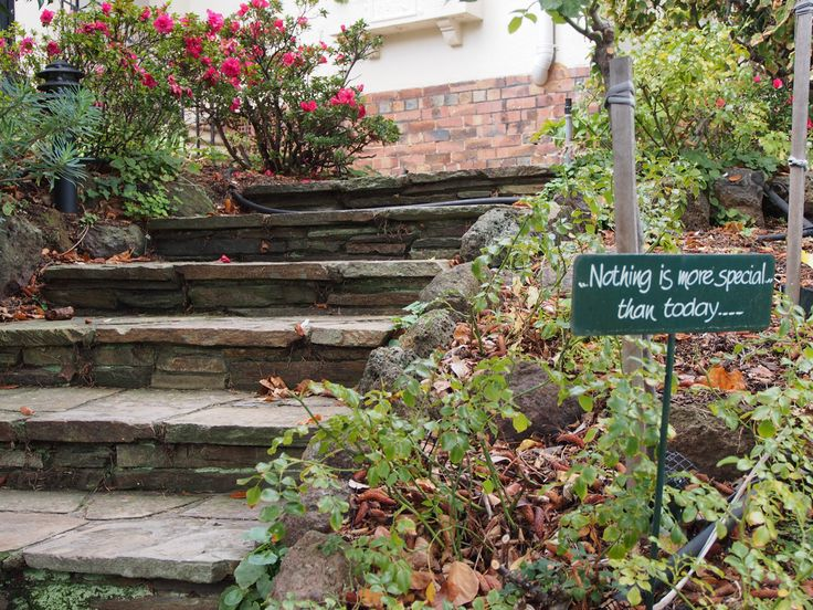 """Nothing is more special than today: this steps have been constructed by a true artisan. The risers are made in a """"bookleaf"""" effect & the step has been formed with random crazy stone #pavers."""