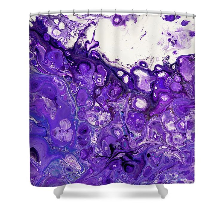 """Sacred Purple Flows 8. Abstract Fluid Acrylic Pour Shower Curtain by Jenny Rainbow.  This shower curtain is made from 100% polyester fabric and includes 12 holes at the top of the curtain for simple hanging.  The total dimensions of the shower curtain are 71"""" wide x 74"""" tall."""