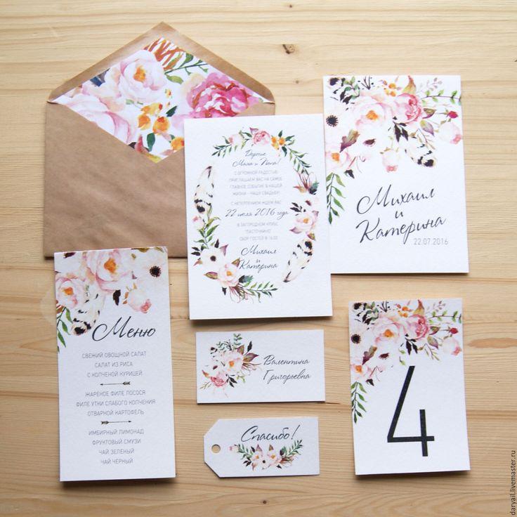 """Купить Приглашение на свадьбу """"Бохо"""" - розовый, приглашения на свадьбу, пригласительный, пригласительные открытки,…"""