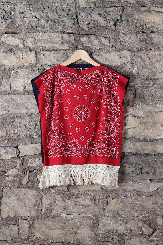 Boury Bandit Red Blue Fringe Paisley Bandana Top Shirt