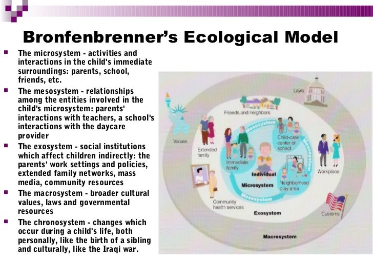 Bronfenbrenner's Ecological Model   The microsystem - activities and…