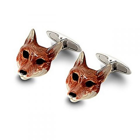 Aspinal of London fox head cufflinks. Aspinal of London presents these cute little fox head cufflinks made from sterling silver and enamel plated. These cufflinks have been meticulously hand crafted in England and feature a pair of hand-painted enamel foxes heads mounted on a swivel t-bar fitting.