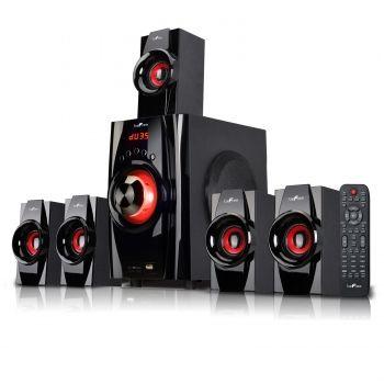 beFree Sound 5.1 Channel Surround Sound Bluetooth Speaker System- Red - myaccessoryguy