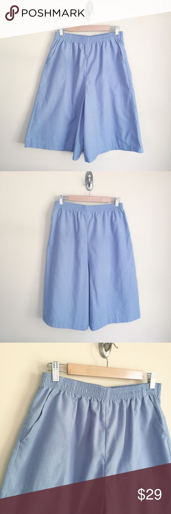 """✨Vintage✨ Carriage Court high waist culottes sz L ✨Vintage✨ Carriage Court Sport High waist culottes, size L.  Vintage sizing runs small, follow measurements for fit. Softly heathered light blue, lightweight fabric, very high waist, full cut, wide legs, elastic waist, side pockets with seamed outline (photo 4). Condition:  excellent vintage. Material:  65% polyester/35% cotton. Measurements (approximate, taken laying flat): length 26"""", inseam 12.5"""", rise 15"""", flat unstretched waist 14"""", flat…"""