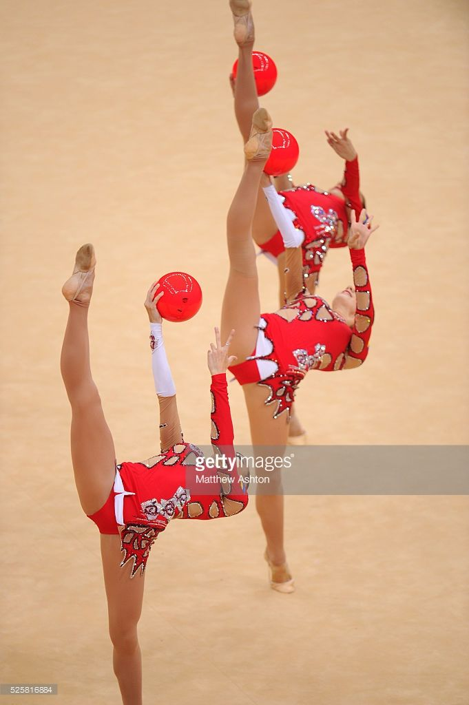 The Ukraine team compete in the Rhythmic Gymnastics group qualification at Wembley Arena at the Olympic Summer Games - London 2012