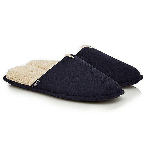 Totes Navy memory foam mule slippers in a gift box | Debenhams