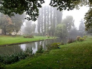 Chateau gardens in the mist - our delightful accommodation in Normandy