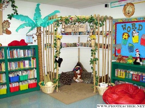 "fun reading ""nook"" that has its own space but still allows teacher to monitor and see what's going on"