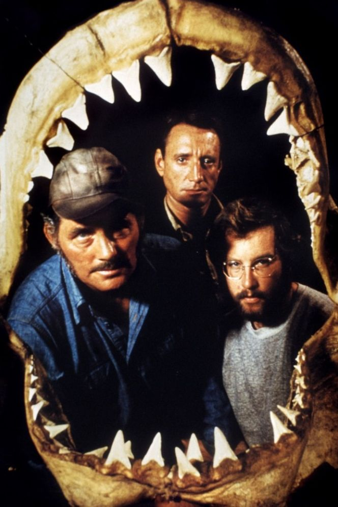 """Robert Shaw, Roy Scheider, and Richard Dreyfuss in a fantastic publicity still for Steven Spielberg's Jaws (1975) """