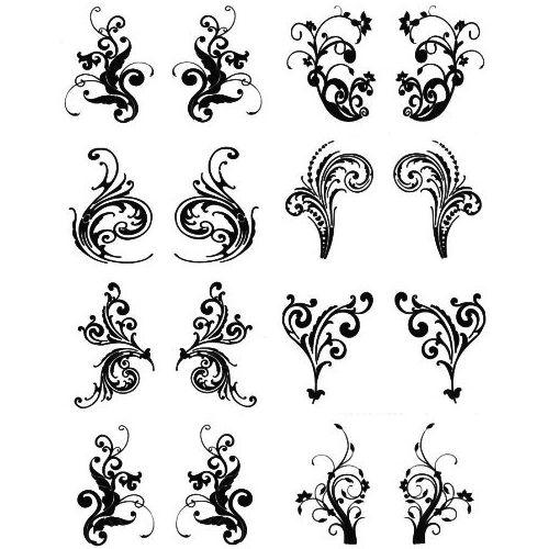 Easy Tattoo Designs | Henna Look Water Transfer Tattoos Six Bold Lower Back Designs
