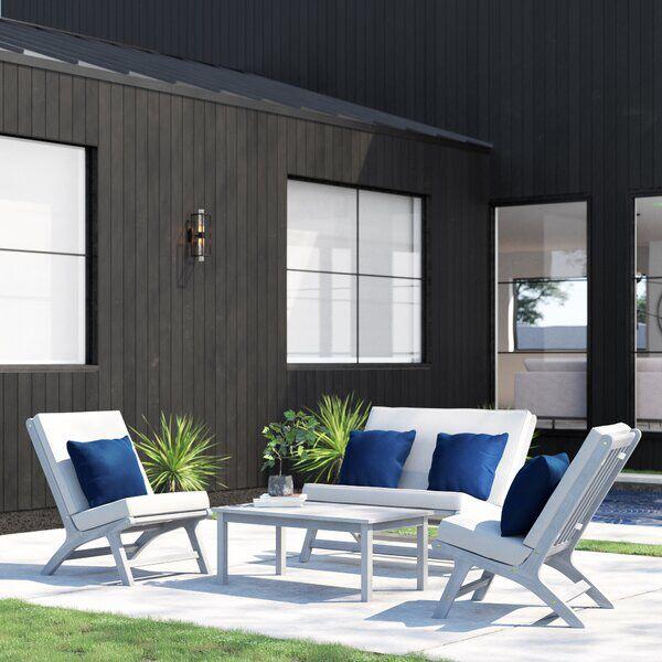 Celestia 4 Piece Sofa Seating Group With Cushions Patio Furniture Fire Contemporary Patio Furniture Sunbrella Sofa
