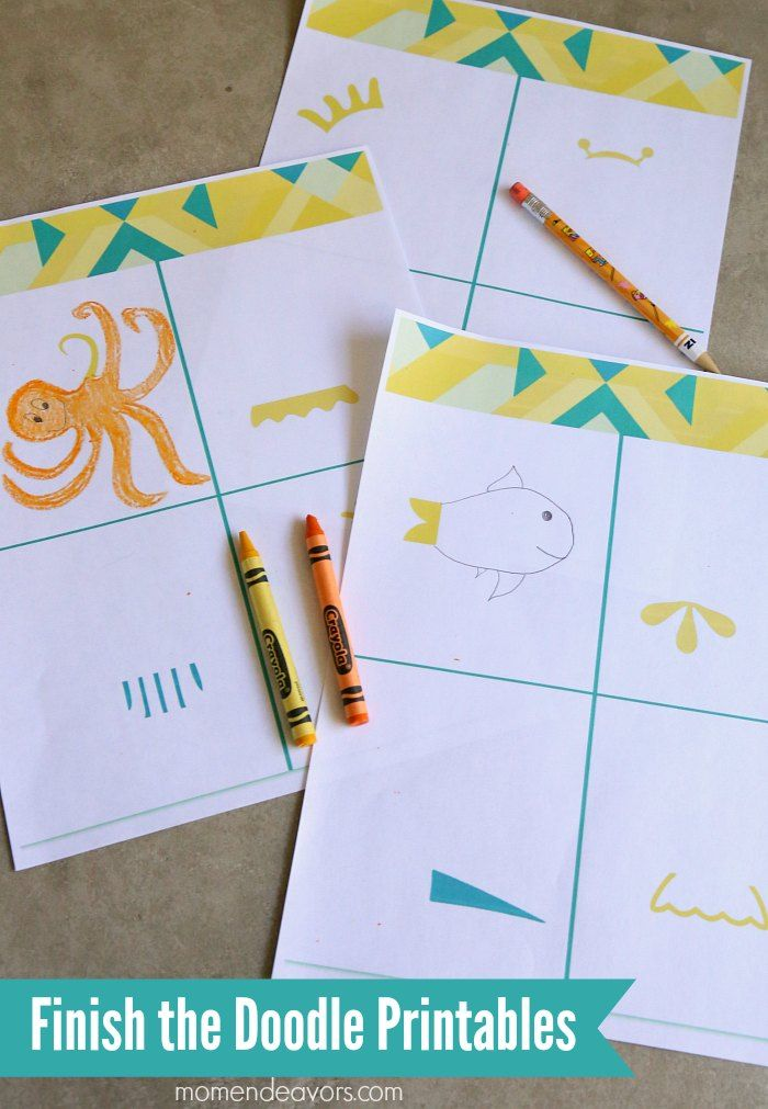 Educational Boredom Buster Printable Kit for Kids - These Finish the Doodle Printables are great for almost ALL ages!