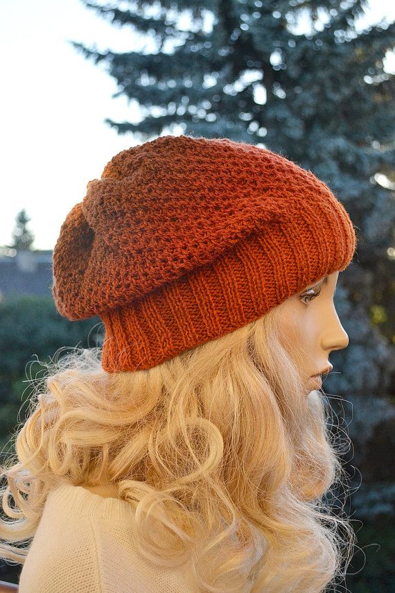 Knitted multicolor kauni wool beanie cap hat orange by DosiakStyle #knit #hat #ombre #pottersclay #color