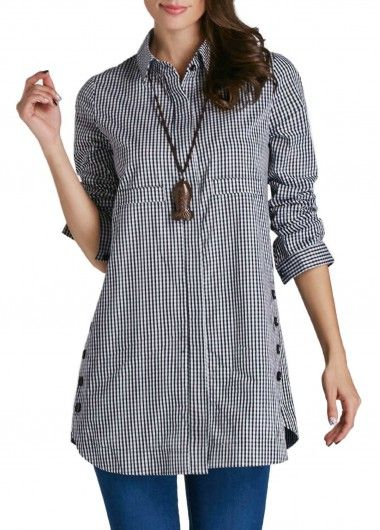 Curved Turndown Collar Button Up Plaid Print Shirt