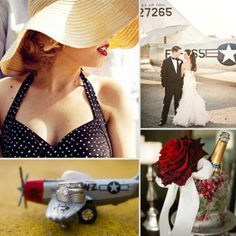 Weddings Through the Decades: 1940s Inspiration  Good site if you are planning a 1940's themed wedding in a vintage aircraft hangar.