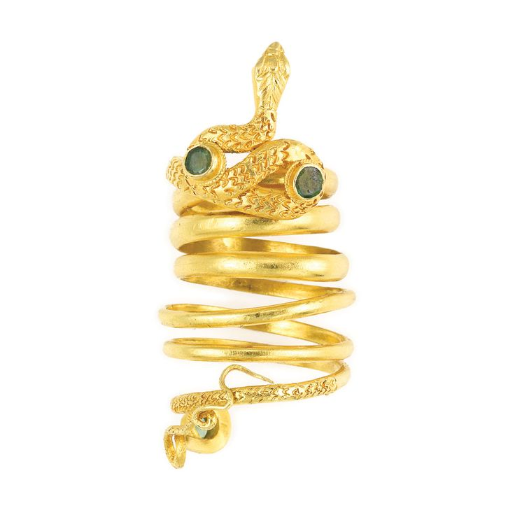 Gold and Emerald Snake Ring, Zolotas   18 kt., signed Greece, with maker's mark, ap. 13.6 dwt. Size 6.