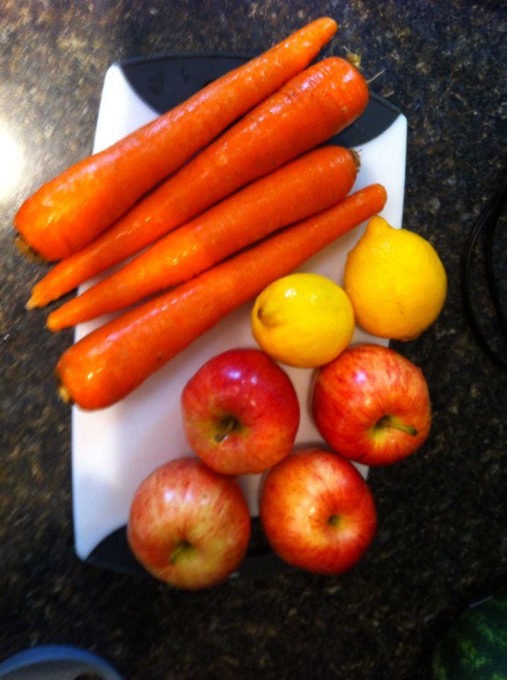 Fruit for 1st juice apple-lemon-carrot