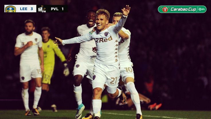 Wed. 09.08.17 Carabao Cup Rd.1 LU 4 Port Vale 1. Samu Saiz celebrates after grabbing a hat-trick on his debut against Port Vale FC, with 15 minutes still to be played.  Leeds United (@LUFC) on Twitter