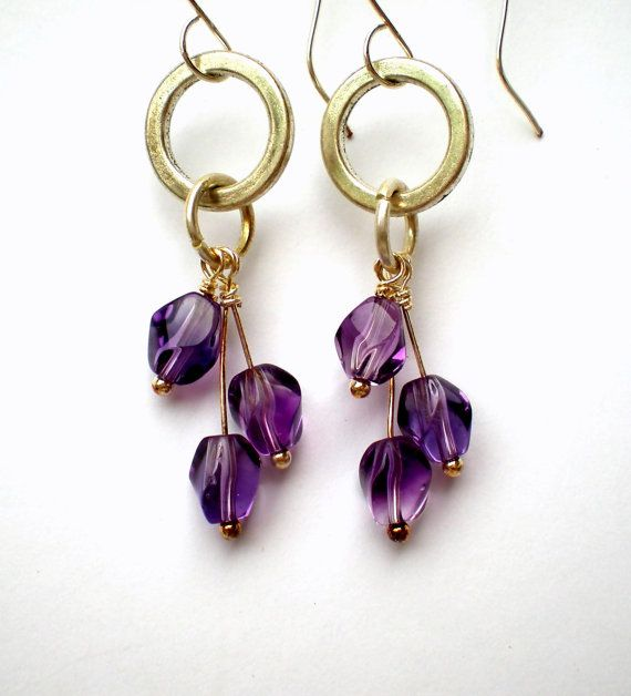 Cubic Twist Handmade Earrings - Amethyst Beads