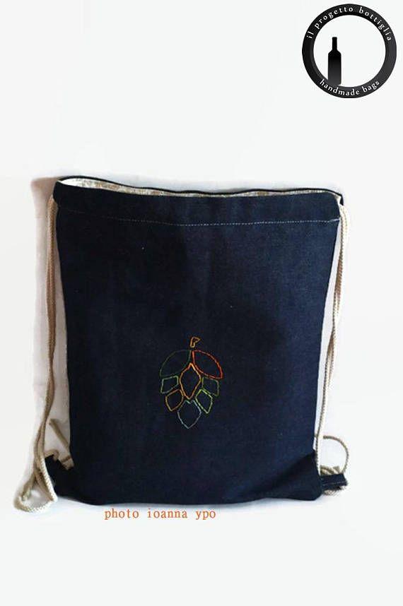 denim drawstring bag jean backpacks for men unisex