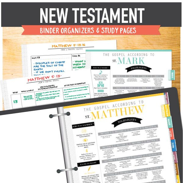 New Testament LDS Seminary Helps - printable binder kit with dividers for each book in the New Testament.  Keep all notes, teaching ideas, General Conference talks, etc. organized and easy to find.  Great for students too!  Also has study templates that can be used with any chapter!  www.theredheadedhostess.com