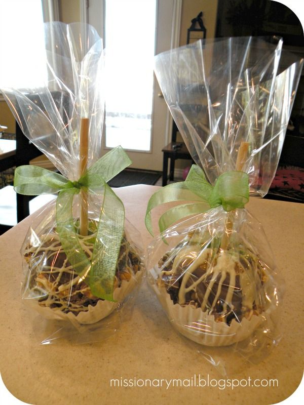 Missionary Mail: Gourmet Caramel Apples--love the cupcake wrapper underneath!