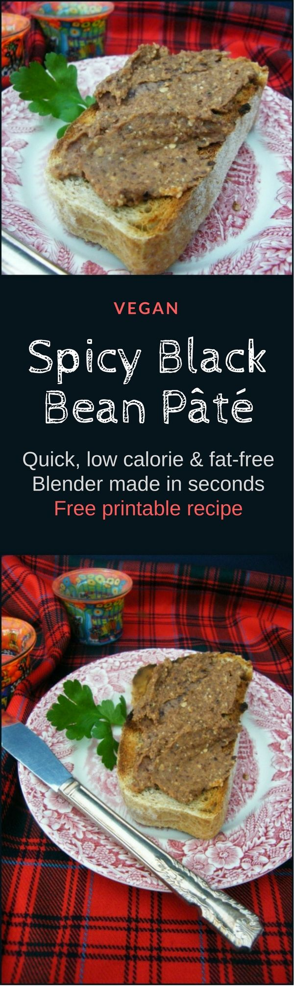 A rich velvety pâté made with black beans. Made in a blender in minutes and super tasty. It will sit happily in the fridge for a few days in an airtight container and the flavour gets better and better. This recipe is low calorie and fat free. Perfect for the 5:2 diet. Serve on toast and oatcakes or spread a generous amount on sandwiches or wraps and top with salad. Only 111 calories for a large serving.