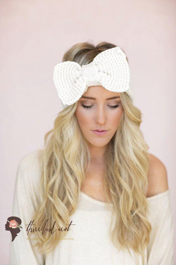 Ivory Knitted Bow Headband Ear Warmer Fashion Head Bands , Large Bow Headband